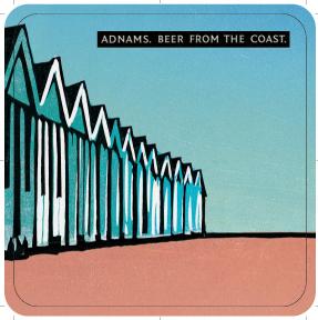 Adnams 'Beach Huts' Beer mats back 3