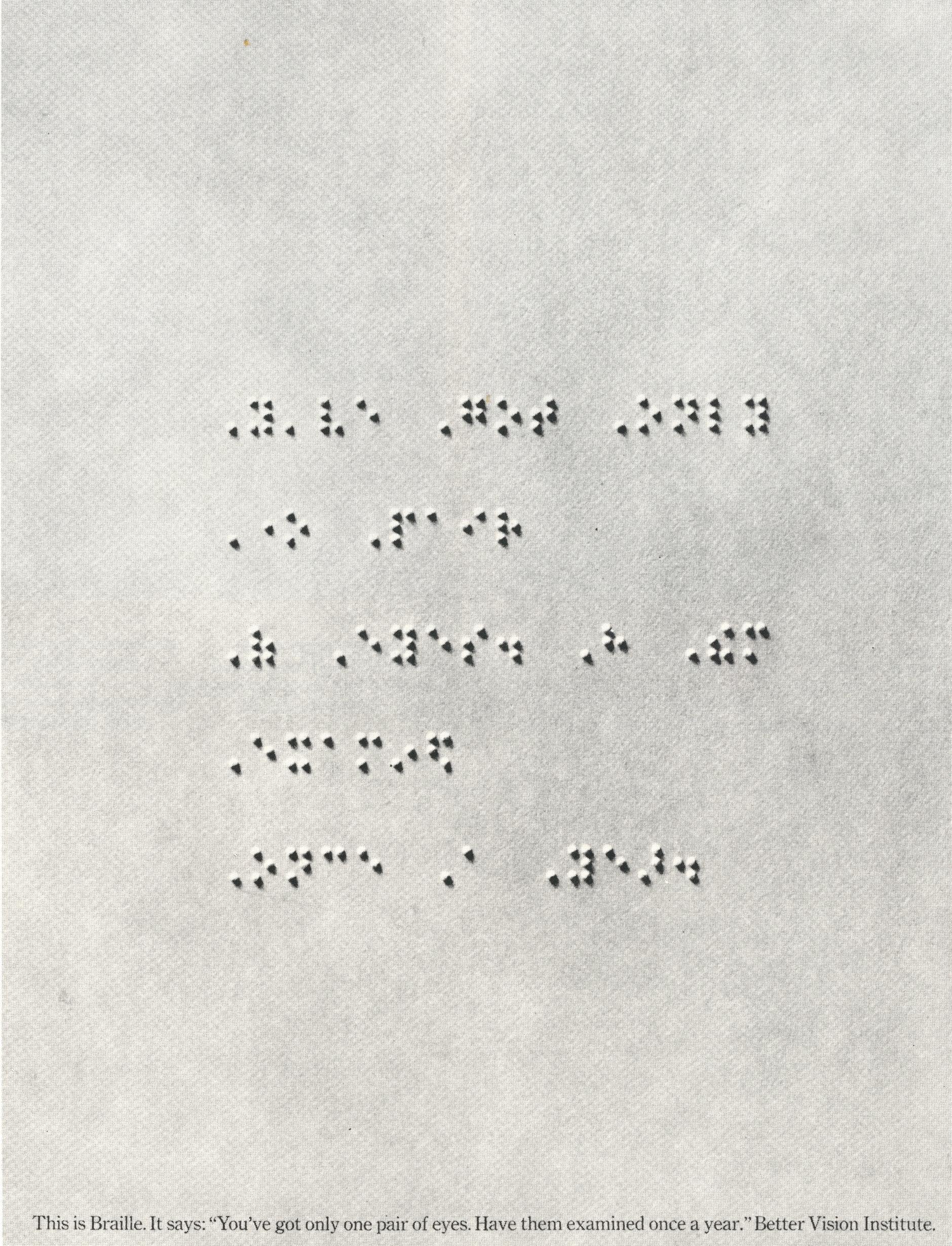 Len Sirowitz, Better Vision Institute 'Braille', DDB-01