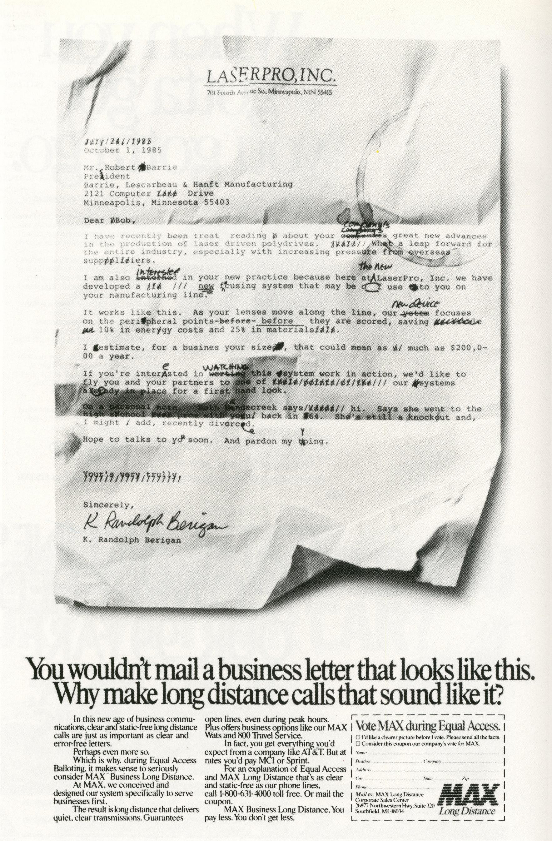 Fallon McElligott, MAX 'Letter'-01