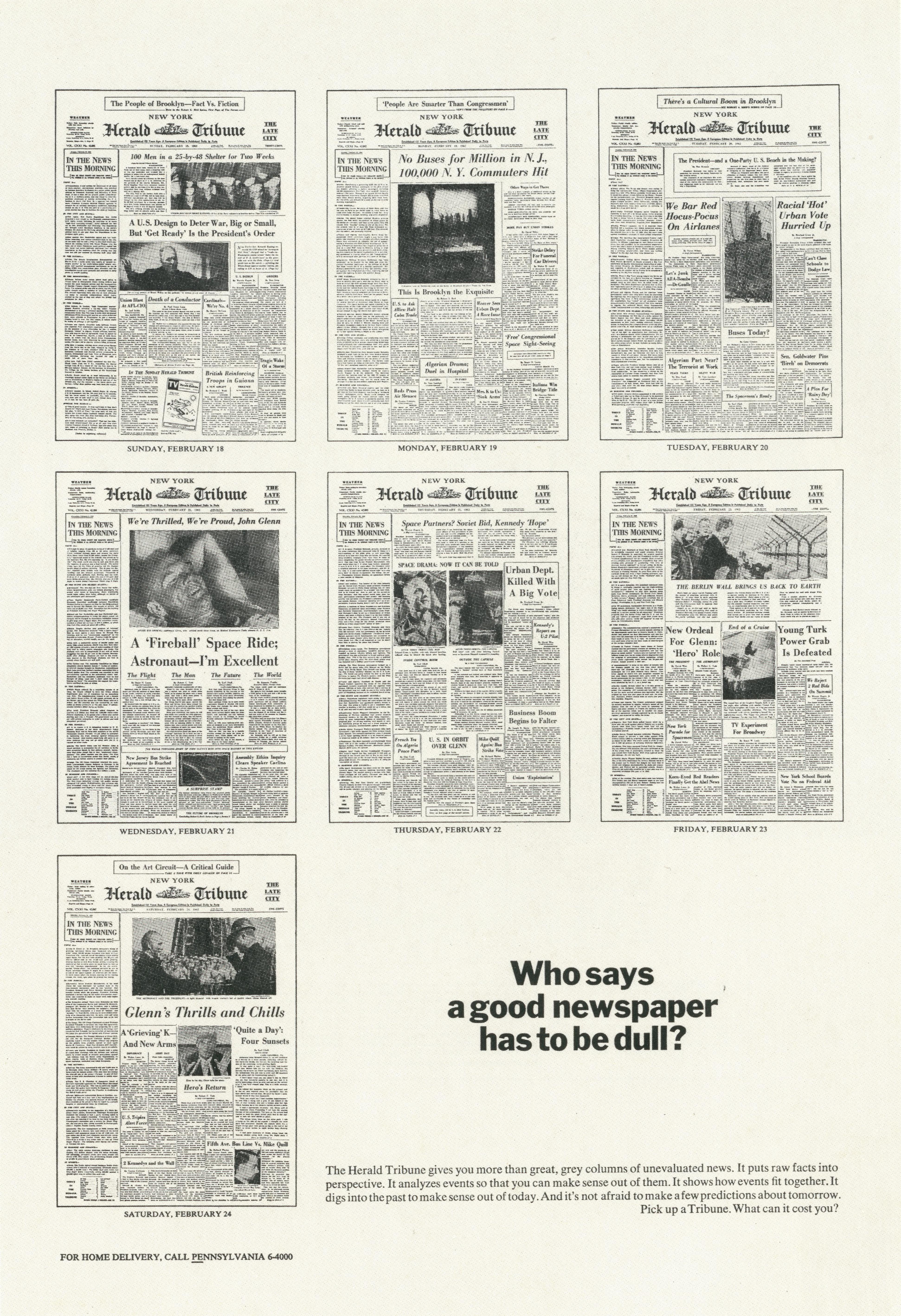 PKL2; Herald Tribune 'Dull:Front Pages'