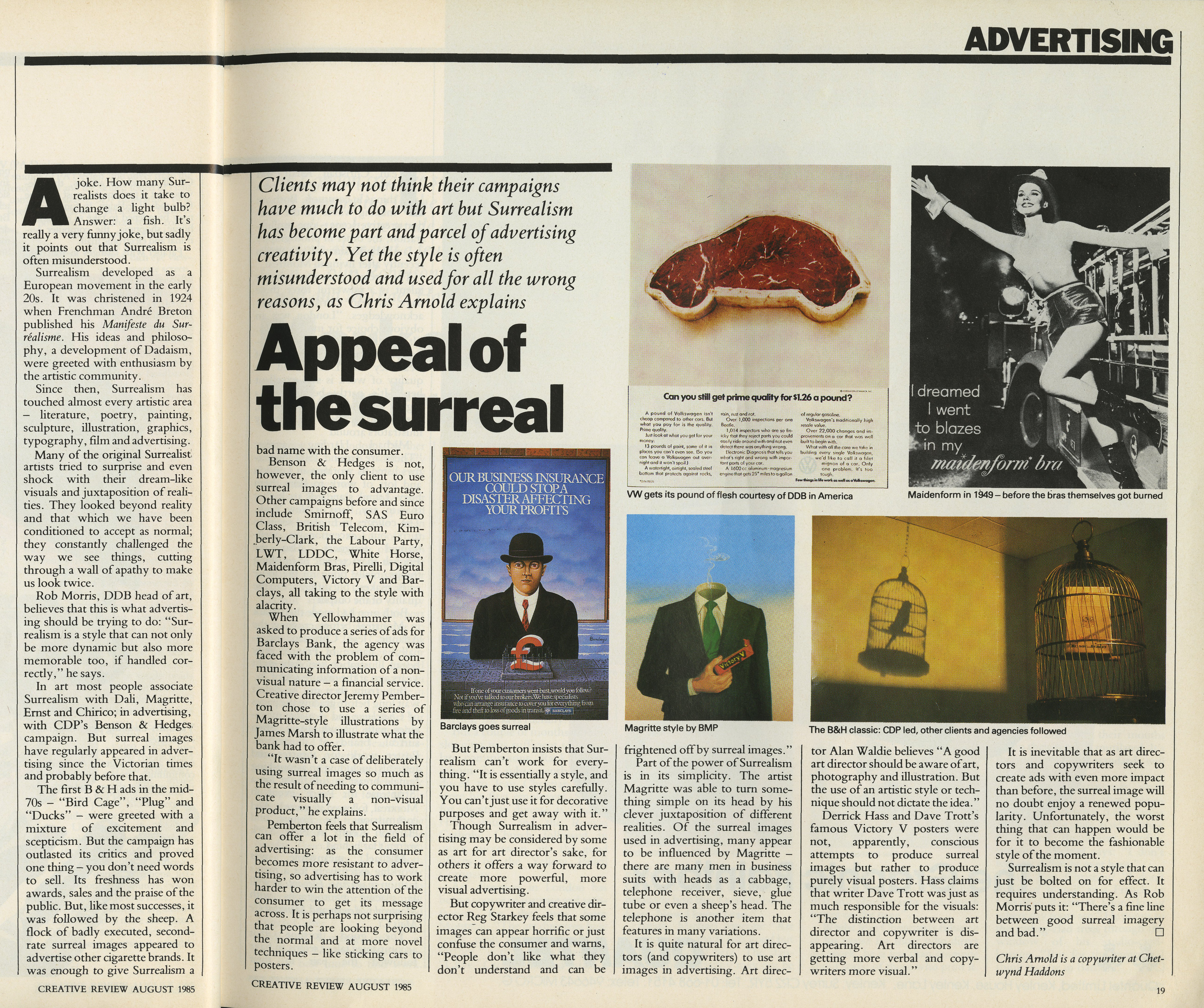 B&H - Surealism Article' Creative Review August 1985-01