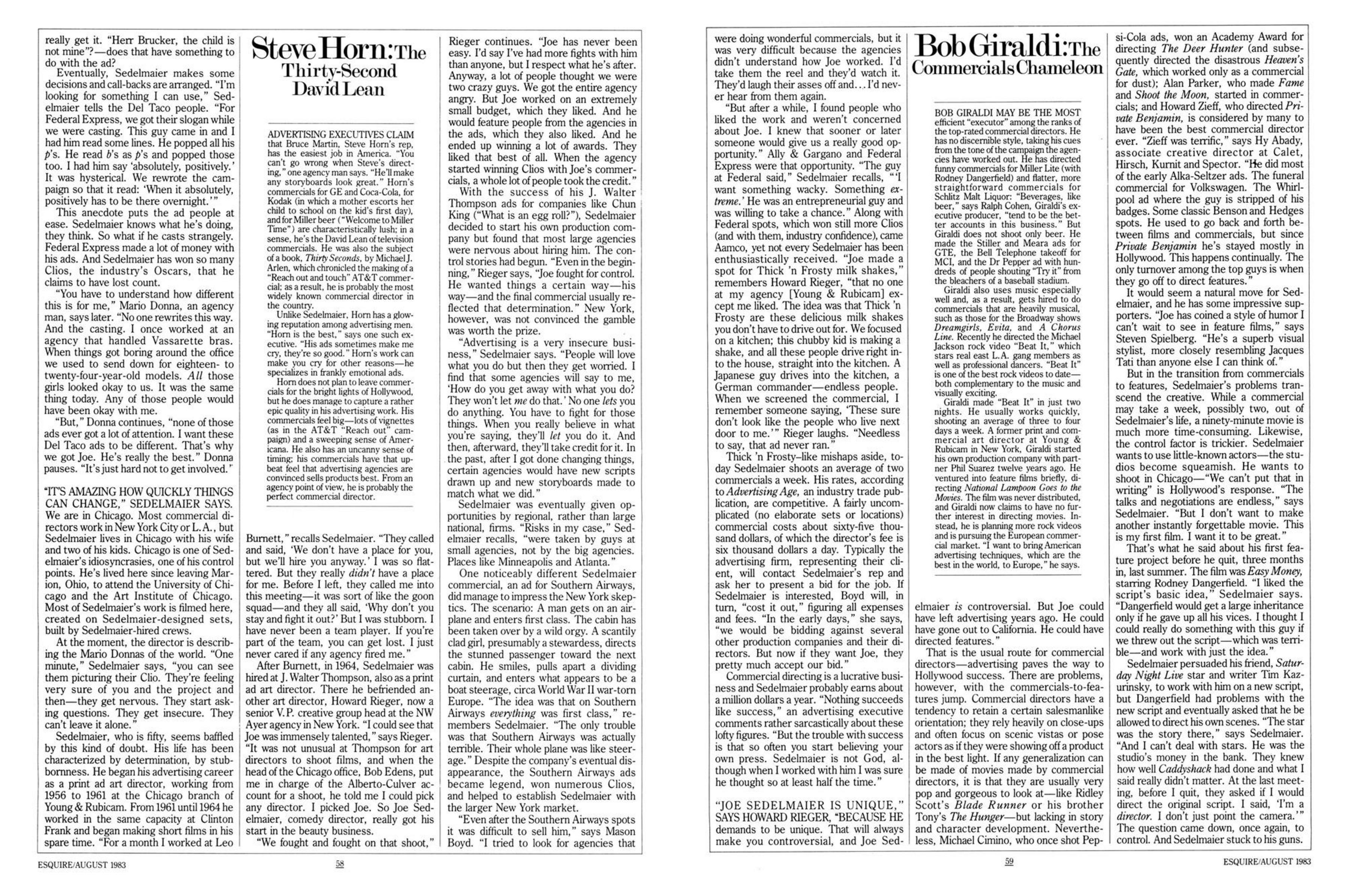 Joe Sedelmaier, Esquire article 3, 1983