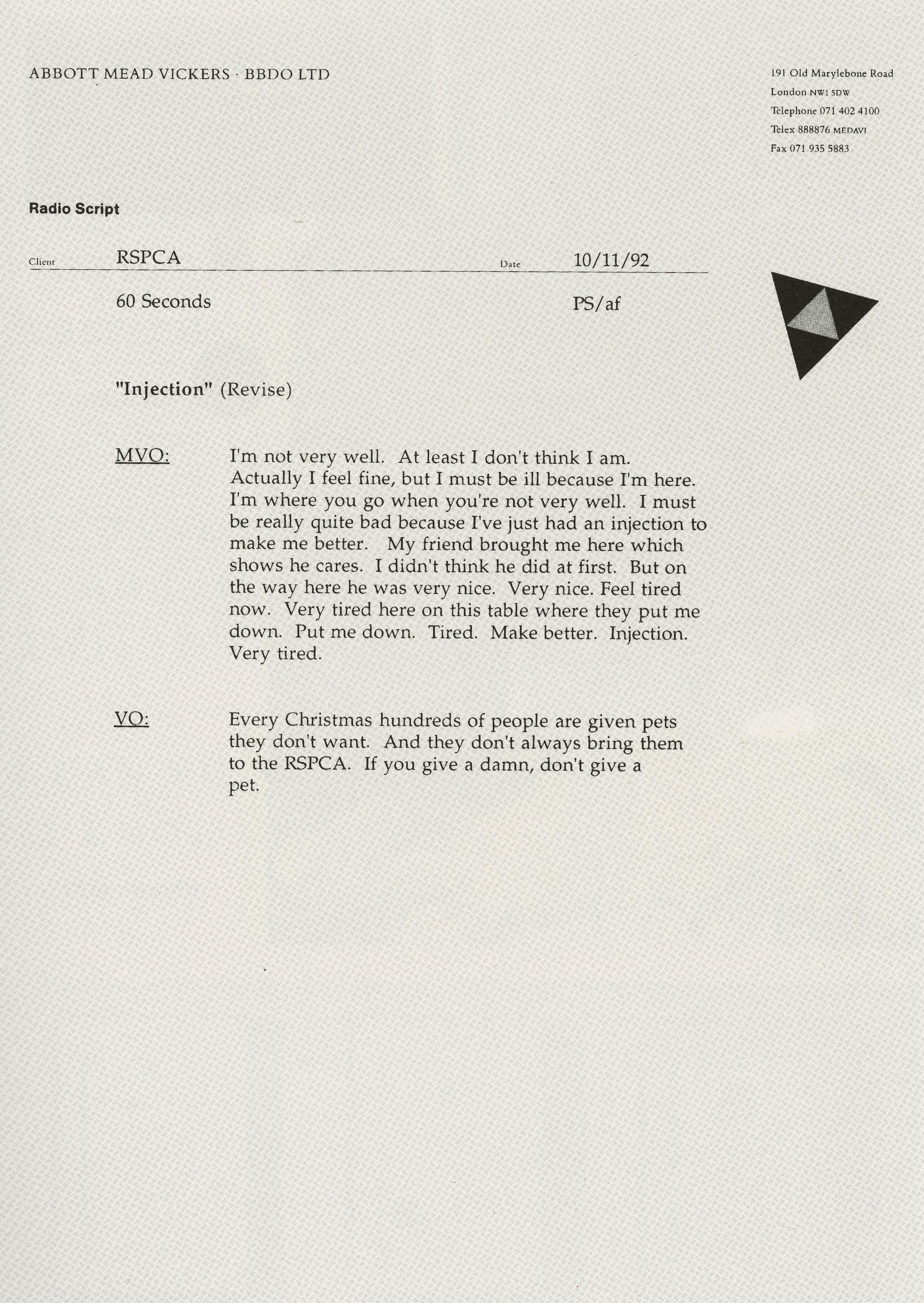 'Injection:Radio' RSPCA, Peter Souter, AMV.jpg