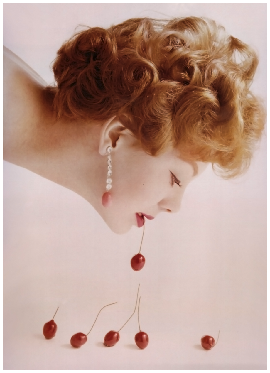 Guy Bourdin 'Cherry Girl' Vogue Lugli, 1958.png