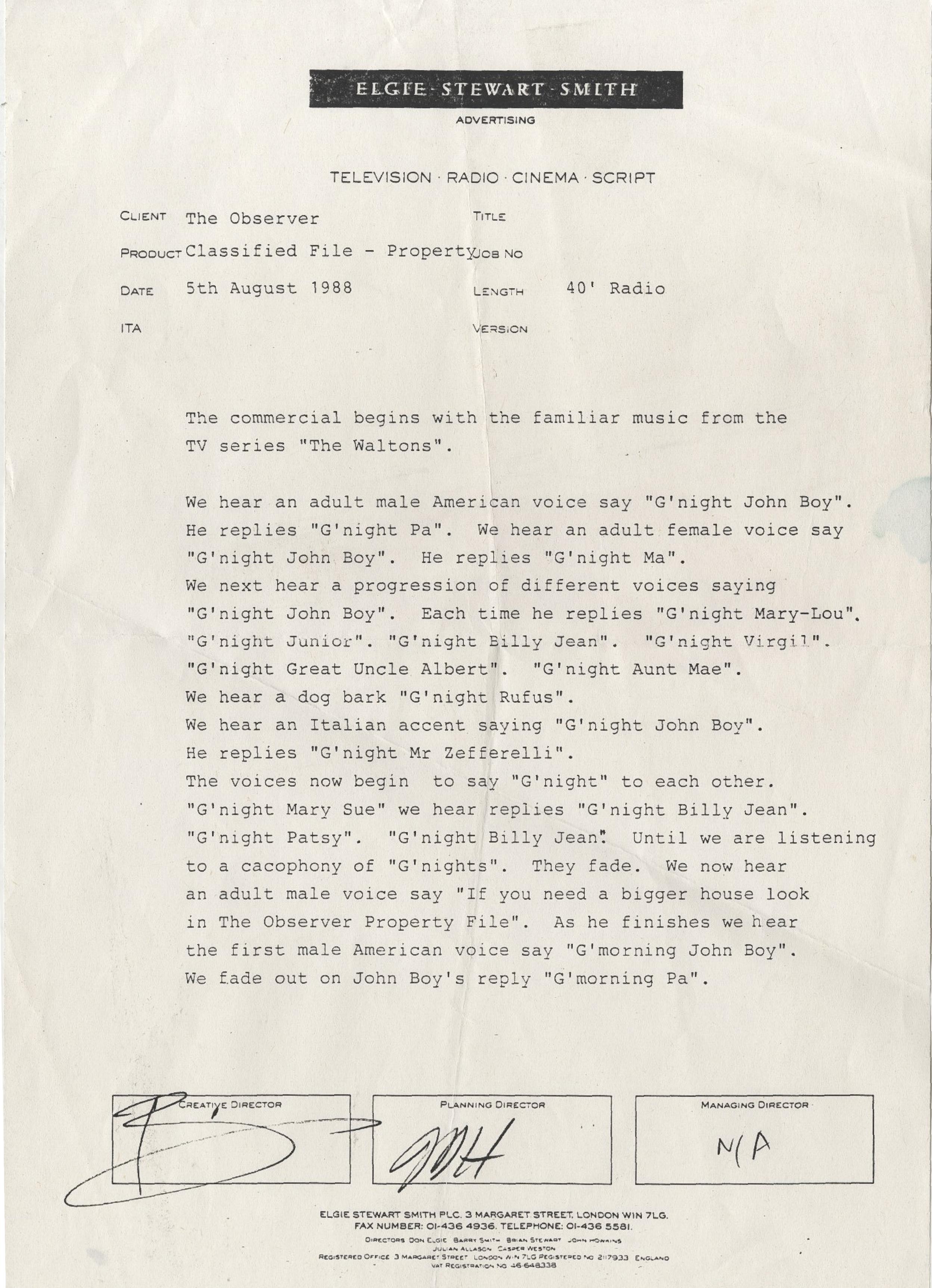 The Observer 'G'Night John Boy' Radio Script**.jpg